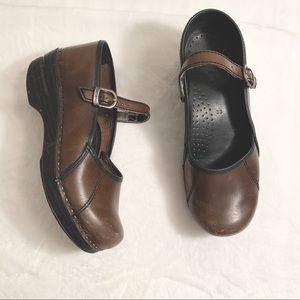 DANSKO | Strappy Brown Leather Clogs Size 38